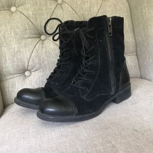 Franco sarto size 6 lace up combat suede booties